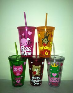 Personalized Valentine's Day Tumblers- Great Party Favor, Valentines Day Party, Personalized Tumbler. $9.75, via Etsy.