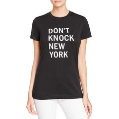 Dkny Don't Knock New York Graphic Tee ($100) ❤ liked on Polyvore featuring tops, t-shirts, black, graphic t shirts, graphic print t shirts, dkny t shirt, graphic tops and graphic print tees