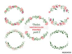 Vector: Vector watercolor wreaths and separate floral elements for custo