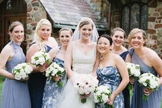 Maids lookin' beautiful in blue, with dresses by Amsale Bridesmaids in Slate, French Blue and French Blue Amore Print from Bella Bridesmaids West Hartford