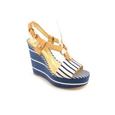 Coach GWYNN SPRIPED Open Toe Wedges Heels Shoes Blue Womens by The Leather Handbags