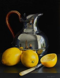 From Quantum Contemporary Art, Jessica Brown, Still Life with Silver Water Jug, Lemons and a Knife Oil on limewood panel, 16 × 14 in Fruit Photography, Object Photography, Still Life Photography, Still Life Drawing, Still Life Oil Painting, Contemporary Art London, Jessica Brown, Hyper Realistic Paintings, Still Life Images