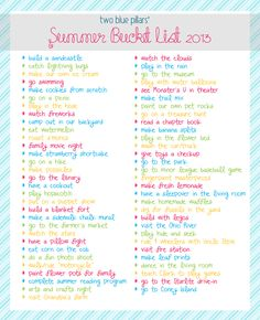 Summer Bucket List, Wish I had this a month ago!