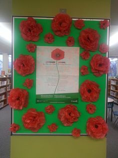 Remembrance Day Display Bulletin Board Ideas  Poppies Library Bulletin Boards, Art Activities For Kids, Remembrance Day, Day Book, Library Displays, Veterans Day, Memorial Day, Poppies, Balloons