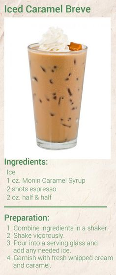 Create this delicious Iced Caramel Breve in minutes using Monin Gourmet Syrup. Add a splash of Monin to coffee, cocktails, teas, lemonades and more. Iced Coffee Drinks, Coffee Drink Recipes, Espresso Drinks, Drinks Alcohol Recipes, Tea Syrup Recipe, Caramel Syrup Recipe, Syrup Recipes, Hot Chocolate Coffee, Coffee Snobs