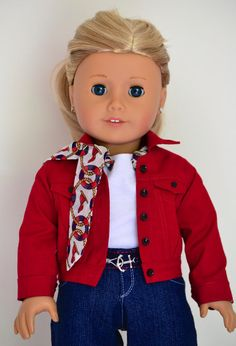 18 inch, American Girl  Doll Clothing. Traditional fit Jeans with belt, T-shirt with attached Scarf, Lined Jacket, Bracelet