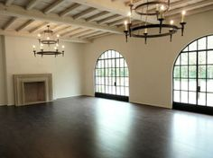 Limestone & Boxwoods - Perfect English - Benecki Fine Homes - living room, steel windows, iron chandeliers Quinta Interior, Oak Floor Stains, Provence, Timber Beams, Exposed Beams, Spanish Style Homes, Spanish Revival, Perfect English, Steel Windows