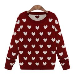 Heart Print Pullover Knit Sweater