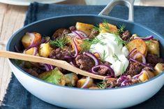 Skandinávské mleté maso s bramborami + kopr Chorizo, Meatloaf, Ground Beef, Hot Dogs, Potato Salad, Sausage, Grilling, Paleo, Pork
