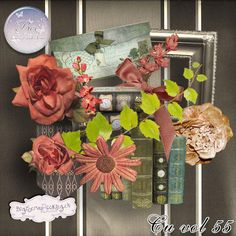 bee_cuvol55_pv Pink Carnations, Gray Background, Scrapbook Paper, Digital Scrapbooking, Creations, Bee, Wreaths, Fall, Paper