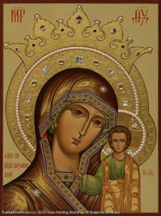 Kazan Mother Of God - icon Religious Icons, Religious Art, History Of Romania, Byzantine Icons, Byzantine Jewelry, Mama Mary, Russian Icons, Blessed Mother Mary, Painting Workshop