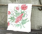 Tablecloth, Linen, Vintage, Home Decor, Shabby Chic, Flowers, Fine Linen, Floral, Christmas, Holiday, 48 x 48, Red, Green
