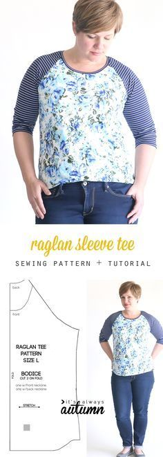 free raglan tee shirt sewing pattern {women's size large Learn how to sew a raglan sleeve (baseball) tee shirt with this easy sewing tutorial and free pdf sewing pattern in women's size large. Sewing Patterns Free, Free Sewing, Clothing Patterns, Pattern Sewing, Shirt Patterns For Women, Pants Pattern, T Shirt Patterns, Dress Patterns, Free Pattern