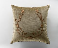 Pillow with European raised gold embroidery, | B. Viz Design | bviz.com