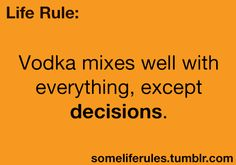 Life Rules: Vodka mixes well with everything, except decisions. Great Quotes, Quotes To Live By, Me Quotes, Funny Quotes, Funny Memes, Jokes, Funny Phrases, Badass Quotes, Funny Gifs