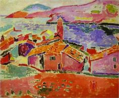 "Henri Matisse (1869 - 1954) | Fauvism | View of Collioure  - 1905 | Fauvism is the style of les Fauves (French for ""the wild beasts""), a loose group of early twentieth-century Modern artists whose works emphasized painterly qualities and strong color over the representational or realistic values retained by Impressionism"