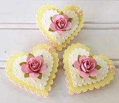 Items similar to Lace Heart Shabby Yellow Handmade Pink Paper Rose Flower Embellishments set of 3 on Etsy Pink Paper, Paper Roses, Safety Pin Jewelry, Lace Heart, Paper Fans, Candy Cards, Scrapbook Embellishments, Jewelry Patterns, Die Cutting