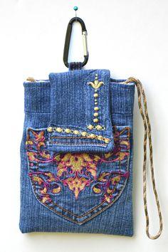 Crossbody phone bag, clip on phone bag, denim cell phone purse, upcycled denim bag, iPhone case by mimisfunstuff on Etsy