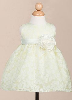 Floral Organza Flower Girl Dress with Hand-Rolled Rosette