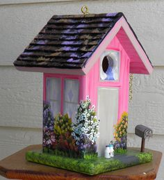 Hand Made Pink Birdhouse  Hand Painted  by BirdhouseBlessings, $85.00