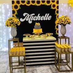 Sunflower Room, Sunflower Party, Sunflower Baby Showers, Sunflower Birthday Parties, Birthday Cakes For Teens, 1st Birthday Girls, Graduation Party Themes, Birthday Party Decorations, Wedding Collage