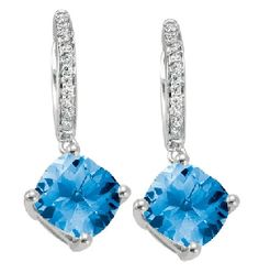 Blue Topaz and Diamonds in white gold dazzle in dangle earrings from Martin Flyer Signature Colors Collection. PE-024107B4WB
