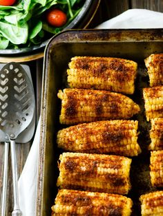 Fresh corn on the cob with grill-roasted flavor you make in the oven. No fuss, no mess, all deliciousness.