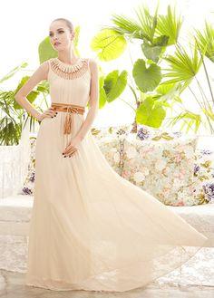 Goddess Style Long Pattern Solid Chiffon Prom Dress With Hollow Design - Apricot on Luulla