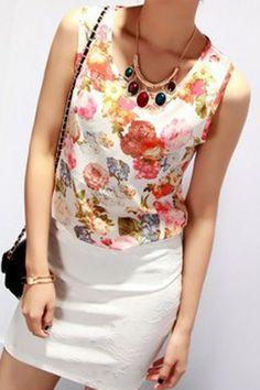 REGISTER ON PERSNMALL.COM Flower Print Summer Chiffon Vest
