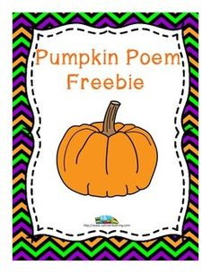 Pumpkins: This pumpkin poem by SOL Train Learning will teach your kiddos about the life cycle of a pumpkin and includes a teacher's guide and a fill in the blank sheet they can use their poems to help them complete it.  Included: -Teacher's guide -Pumpkin poem -Fill-in the blank worksheet  You may want to check out our full  Pumpkin Literacy Bundle which includes our original Quality Student song and our original Quentin's Pumpkin book on kindness, 20 pumpkin shaped word family sorts, ...