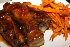 Sweet and Sticky Ribs with Sweet Potato Fries