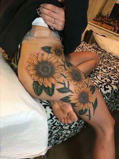 Work of art by Cory Claussen @ Red Arbor Tattoos in Sioux Falls, SD Tattoo ideas Dream Tattoos, Future Tattoos, Body Art Tattoos, New Tattoos, Sleeve Tattoos, Tattoo Hip, Tatoos, Sunflower Tattoo Shoulder, Sunflower Tattoos