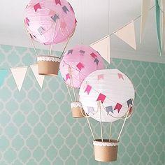 Whimsical Hot Air Balloon decoration DIY Kit - Nursery decor - Baby Shower - Travel theme nursery - Baby room decoration - Set of 3 (Pink…