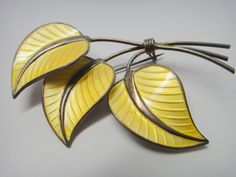 Albert Scharning Norway Sterling Silver Yellow Enamel Triple Leaf Pin