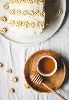 honeycomb cereal pound cake with salted honey buttercream