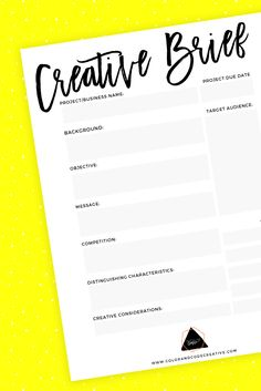 Defining Your Business Free Creative Brief Worksheet PDF | Color