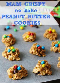 M&M Crispy No Bake Peanut Butter Cookies