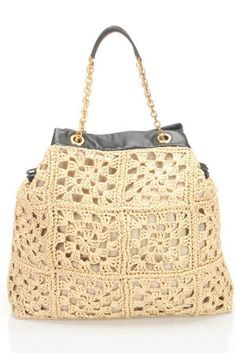 Dolce & Gabbana - Uncinetto Rafia Shopping Tote in Sand: Luxury Lounge - Beyond the Rack
