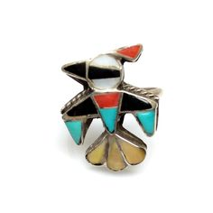 Vintage 1970s Zuni Inlay Turquoise, Coral, Mother of Pearl, Shell and Onyx Thunderbird Ring in Sterling Silver Size by TheGemmary on Etsy