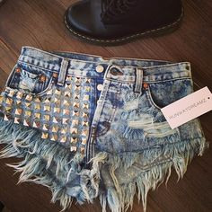 Spring Outfit - Ripped Studded Shorts - Boots
