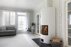 Aino - AINO - Linnatuli - Varaava takka, Takka, Tulisija, Vesitakka, Harkkohormit, TONA First Home, Interior Decorating, New Homes, Cottage, Living Room, Inspiration, Furniture, Fireplaces, Design