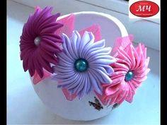 МК ободок с необычными цветами. Канзаши. Цветы из лент. DIY Ribbon flowers