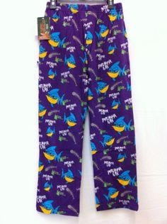 Flow Society Authentic Lacrosse Flannel Lounge Pants Piranha Shark Purple Youth Medium