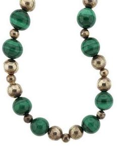Tiffany & Co. 925 Sterling Silver Green Malachite Bead Necklace