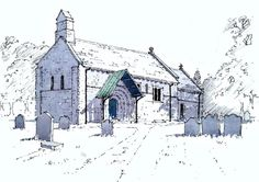 St John the Baptist Church at Adel in Yorkshire ~ sketch ~ John Edwards