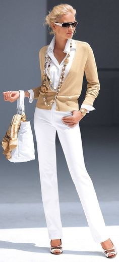 Formal outfit, very balanced colorway with the white beige