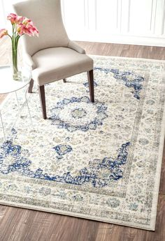 Maybe something like this..... light with some color.????  Bring the perfect vintage look to your décor with this 100 percent polypropylene,machine made Distressed Persian Rug. Available in circle, rectangle and runner shapes and in three shades of blue, this rug brings the old world charm to your interiors and will fit seamlessly below your furniture.