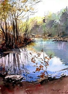 The Watercolour Log: Watercolour Paintings 52 Watercolor Water, Watercolor Landscape Paintings, Watercolor Trees, Watercolor Artists, Abstract Landscape, Gouache Painting, Guache, Beautiful Paintings, Painting Inspiration