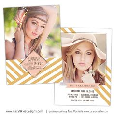 Senior Graduation Announcement Photo Card Template for Photographers - Photoshop Templates for Photographers - Photo Card Template - GD128 on Etsy, $7.50