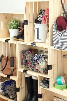 Looking for a little extra organization? Try out this easy crate storage tutorial to get organized on a budget. All you need are a few supplies.